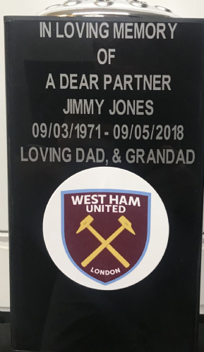 West Ham United  F. C. Square grave flower pot.